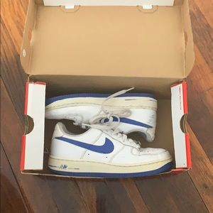 white and blue air force 1s